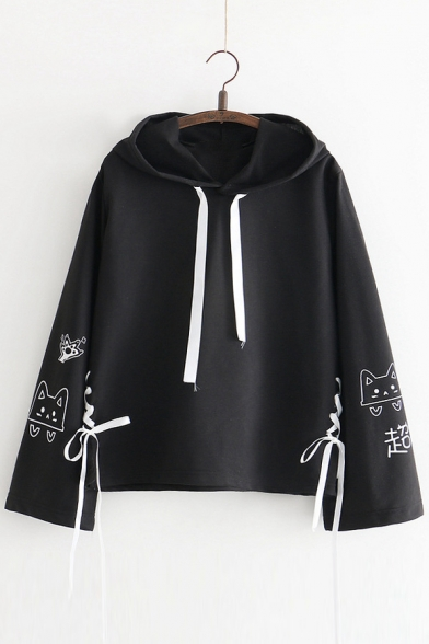 Lace Up Detail Cat Printed Long Sleeve Casual Hoodie