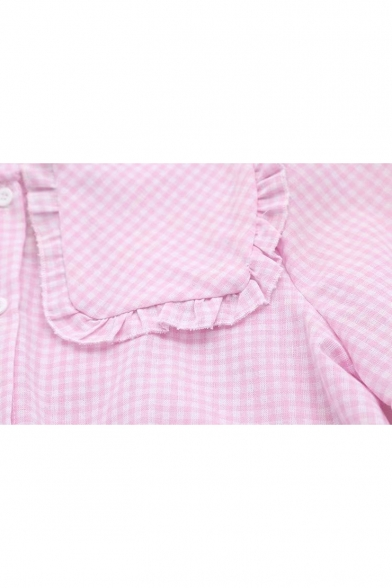 Collar Long Button Plaid Sleeve Blouse Down Lapel 6xBFqdwB