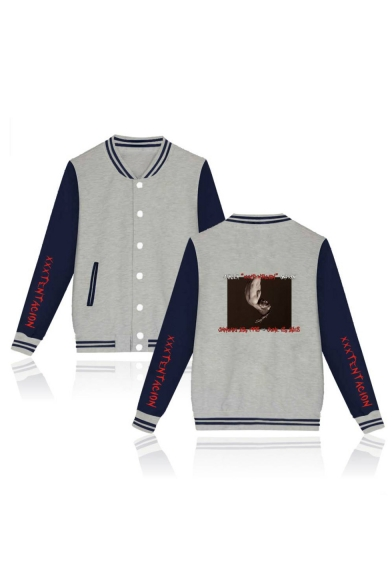 Long Letter Sleeve Printed Baseball Back Down Button Block Color Jacket Character r4ZX4qwU