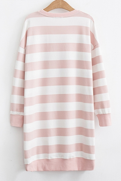 Letter Number Embroidered Color Block Striped Printed Round Neck Long Sleeve Midi Shift Dress