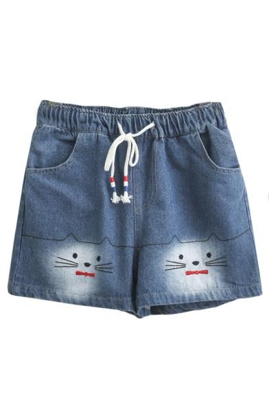 Loose Cat Embroidered Drawstring Waist Leisure Summer Denim Shorts