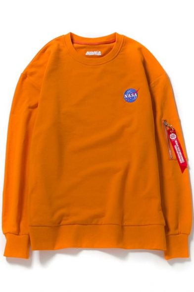 Graphic Neck Sleeve Round Sweatshirt Printed Straps Letter Pullover Long Embellished NASA wn5qSRfxF