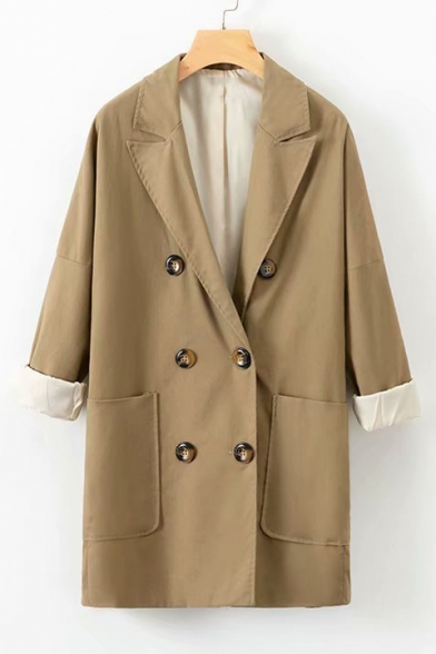 Notched Lapel Collar Long Sleeve Double Breasted Plain Trench Coat