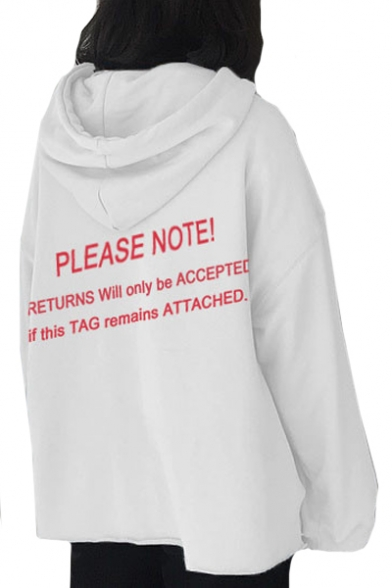 PLEASE Long Printed Letter Hoodie NOTE Sleeve Loose rTrfUFwq