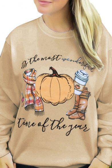 Pumpkin Letter Printed Round Neck Long Sleeve Sweatshirt, LC480046, White;khaki