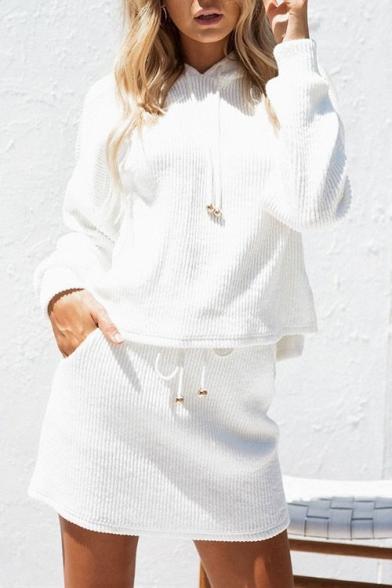 Mini Skirt Co Ribbed Long ords Crop with Pencil Plain Sleeve Hoodie 8YBAZ