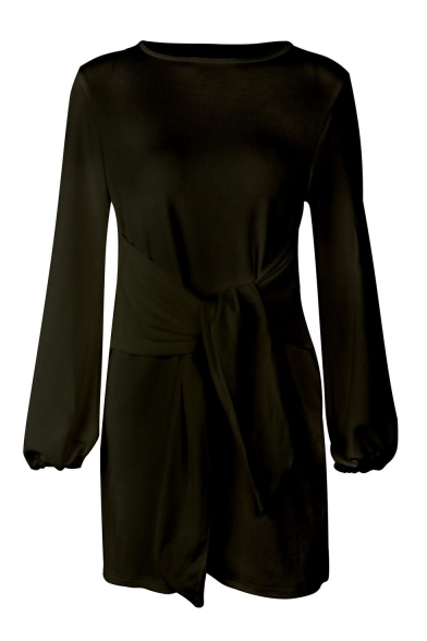 Round Neck Long Sleeve Elastic Cuffs Knotted Front Plain Mini Pencil Dress