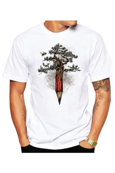 Pencil T Round Neck Printed Shirt Tree Short Sleeve ZOUwBAUdq