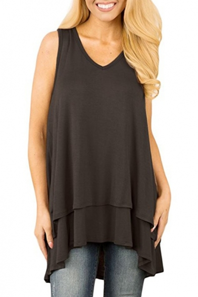 V Neck Sleeveless Plain Loose Mini Layered Asymmetrical Dress