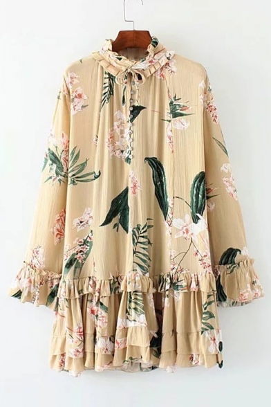 Vintage Floral Printed Stand Up Collar Ruffle Detail Long Sleeve Mini Shift Dress