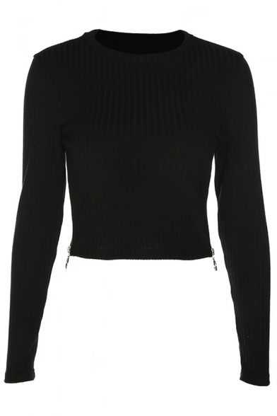 Ribbed Side Round Long Sleeve Plain Crop Neck Zipper Tee 6YqUU