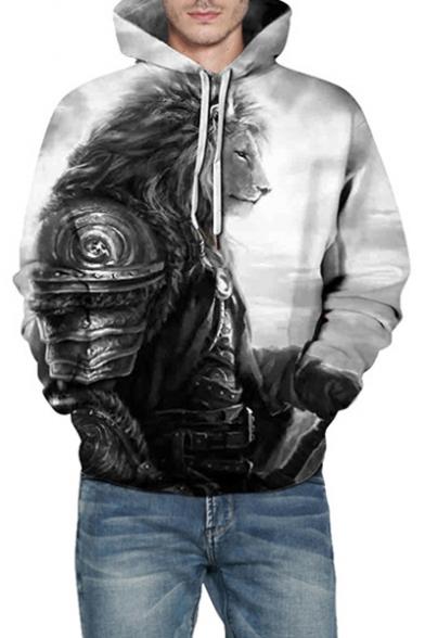 3D Lion Printed Casual Long Sleeve Unisex Hoodie