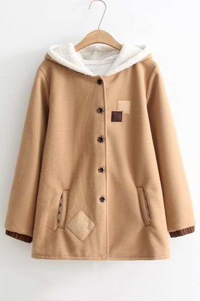 Antlers Pattern Hood Button Front Long Sleeve Applique Hooded Tunic Coat