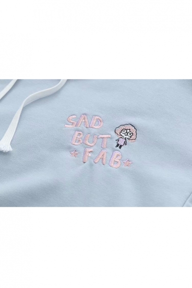 Cartoon Character SAD Embroidered Hoodie Letter Sleeve Long Loose rrdfxw
