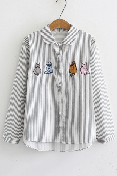 Baycheer / Cartoon Embroidered Striped Printed Long Sleeve Lapel Collar Button Front Shirt