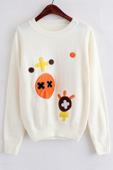 Купить со скидкой Cartoon Mark Pattern Applique Round Neck Long Sleeve Sweater