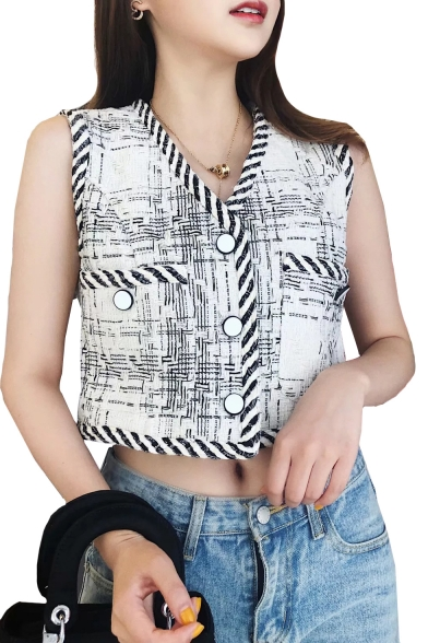 Chic Plaid Printed V Neck Button Front Sleeveless Crop Vest