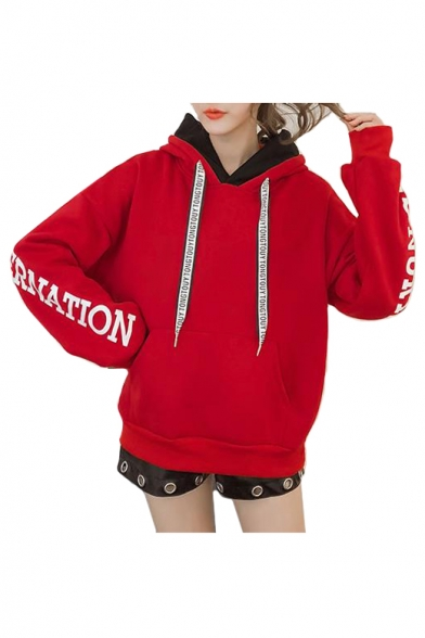 Long Block Printed Hoodie Letter Loose Hood Color Sleeve q6vxUwXvz