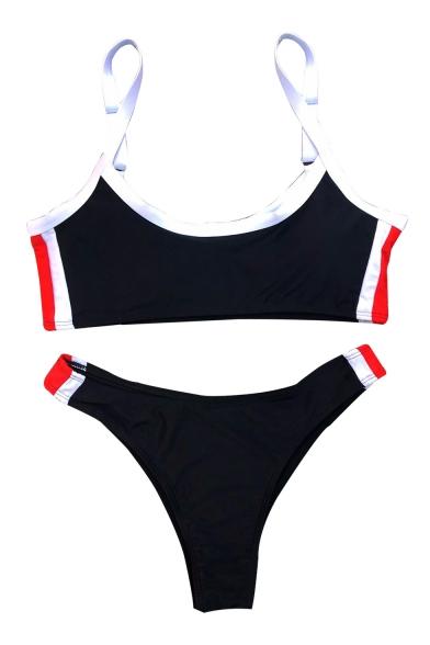 Contrast Striped Side Spaghetti Straps Sleeveless Sexy Bikini