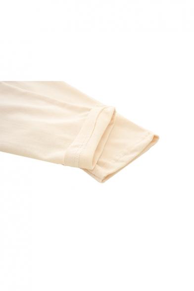 Sleeve Pattern Bear Neck Cute Round T Long Shirt 5aXwWqWp