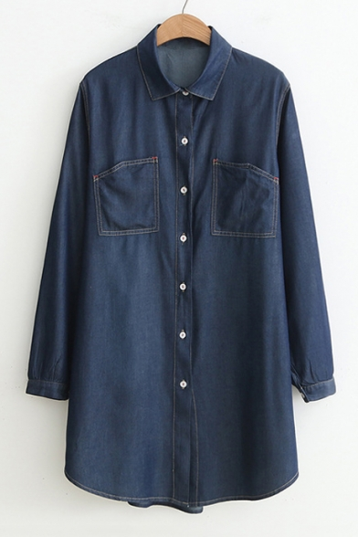 Denim Lapel Collar Long Sleeve Button Front Plain Tunic Shirt