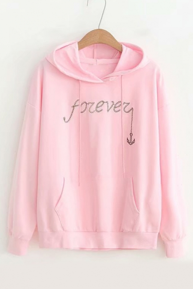 FOREVER Letter Long Hoodie Embroidered Anchor Sleeve Casual 0ZqFZ6wrWx