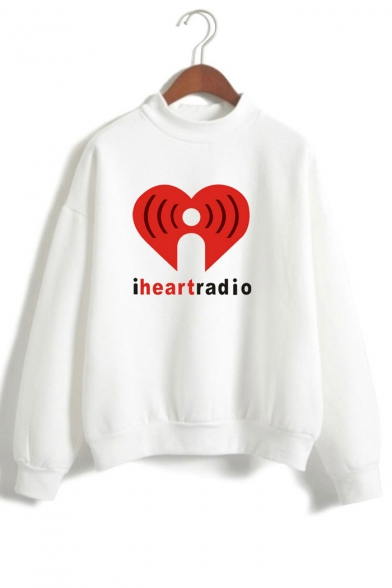 High Graphic HEART Sleeve I Printed Letter RADIO Sweatshirt Long Neck qw7nB1XS