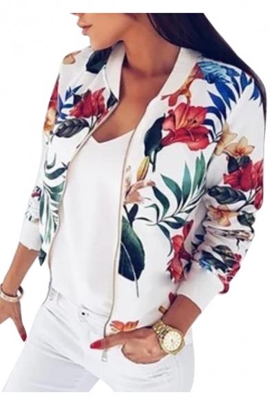 Leaf Floral Printed Stand Up Collar Long Sleeve Zip Up Crop Jacket