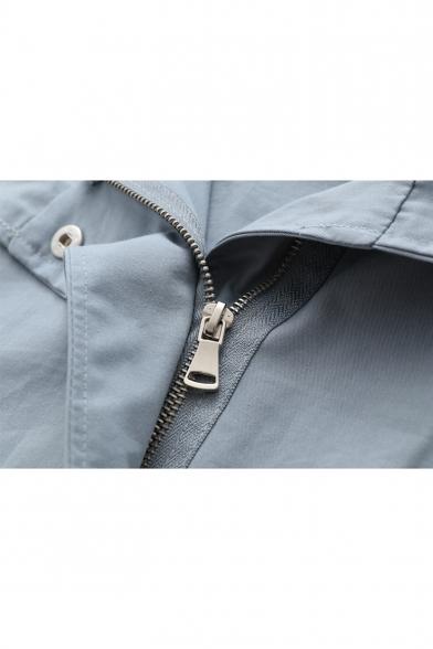 Letter Printed Drawstring Hood Zip Up Long Sleeve Loose Hooded Coat