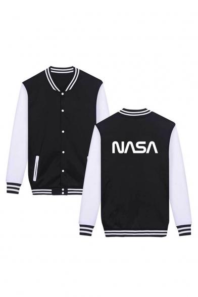 NASA Letter Color Block Contrast Striped Trim Long Sleeve Button Front Baseball Jacket