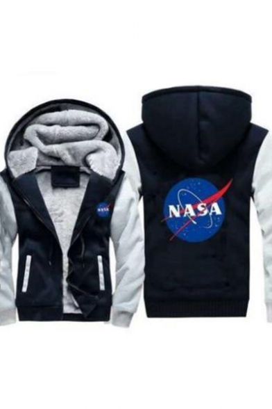 Zip Sleeve Up Graphic Jacket Long Printed Letter NASA Leisure Hooded xYPZOqq