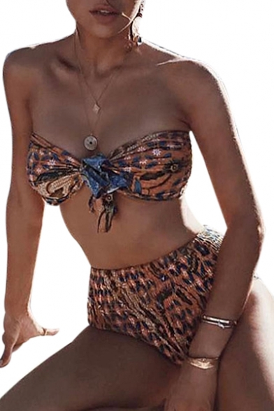 Printed Top Front Bikini with High notted Bottom Waist Floral Bandeau vaUHxOnO