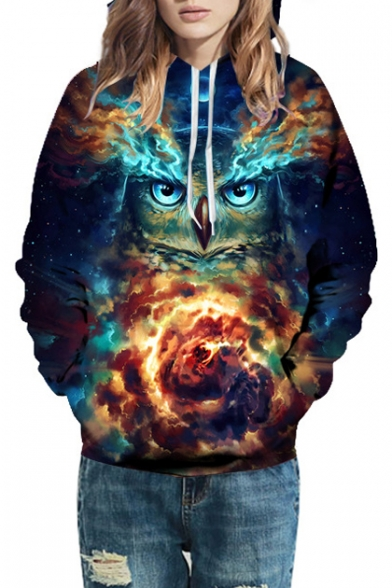 Fire Oversized Hoodie Owl Printed Long Sleeve Uxp1dq