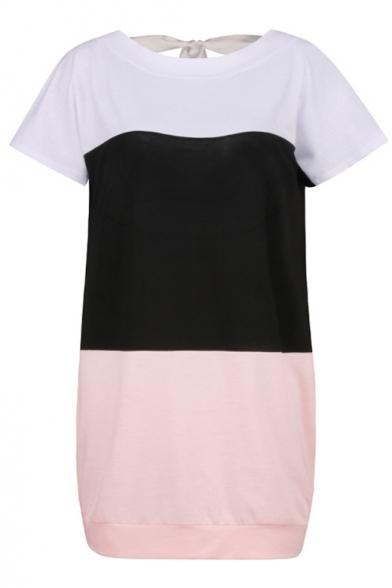 Round Neck Short Sleeve Color Block Tie Back Mini T-Shirt Dress