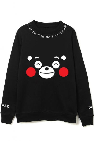 Star Round Printed Neck Suga Korean Sweatshirt BTS Sleeve Letter Cartoon Long axpqHT5w