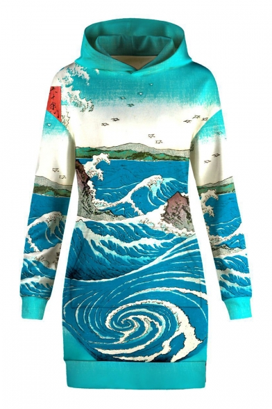 Cartoon Sea Landscape Printed Long Sleeve Mini Hooded Dress