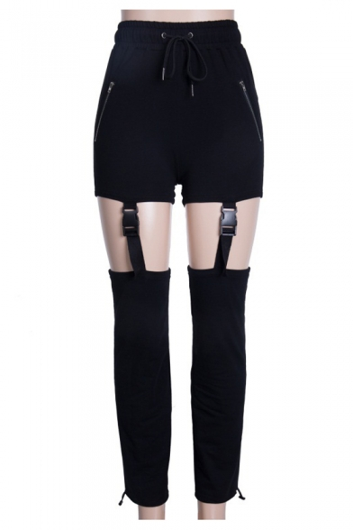 Chic Cut Out Plain Buckle Straps Embellished Bungee-Style Drawstring Hem High Waist Pants