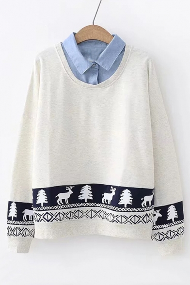 Long Pieces Deer Two Sweatshirt Collar Lapel Fake Sleeve Printed xH51wqwC