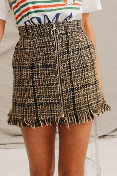 High Waist Zip Up Fringe Hem Plaid Printed Mini Pencil Skirt