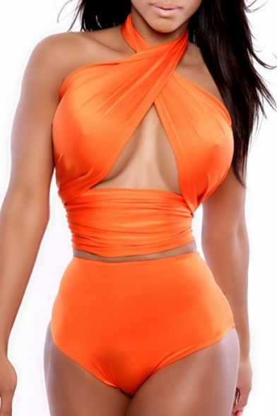 Hollow Out Detail Halter Sleeveless Sexy Top with High Waist Bottom Bikini