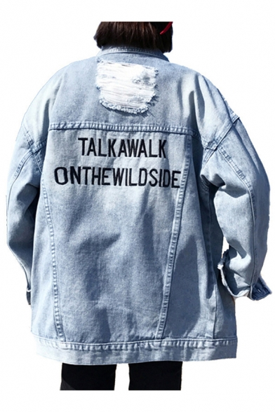 Letter Embroidered Back Lapel Collar Long Sleeve Ripped Detail Button Front Denim Jacket