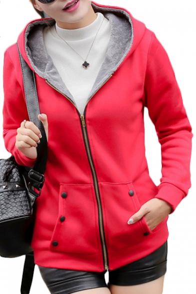 New Arrival Zip Up Long Sleeve Slim Hooded Jacket