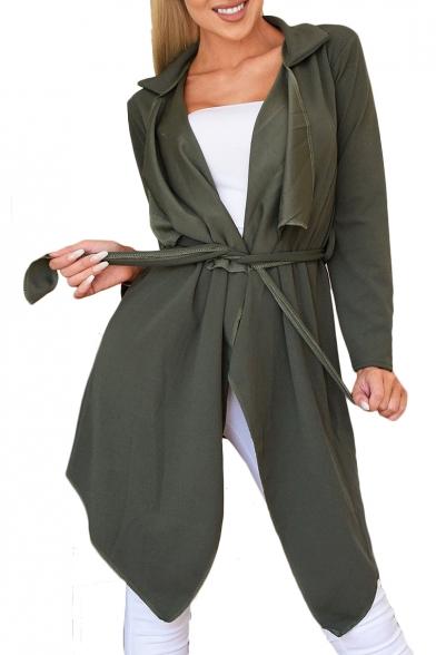 Notched Lapel Collar Plain Long Sleeve Asymmetric Hem Tie Waist Trench Coat