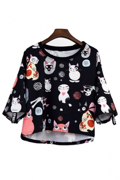 Round Neck Cat All Over Printed Short Sleeve Crop Tee