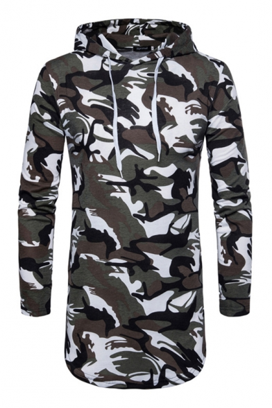 Printed Tunic Long Camouflage Men Hoodie Slim Sleeve for w8q1FUnZ