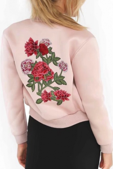 Stand Up Collar Floral Embroidered Long Sleeve Zip Up Jacket