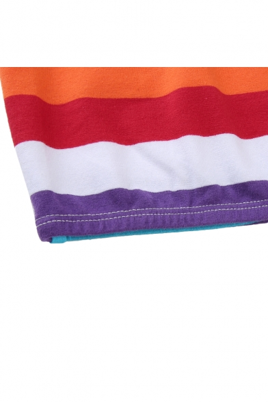 Crop Sleeveless Bandeau Rainbow Letter YEARNING Printed Striped pUFZXw6q
