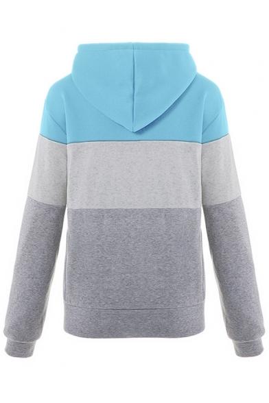 Zip Closure Long Sleeve Slim Color Block Leisure Hoodie