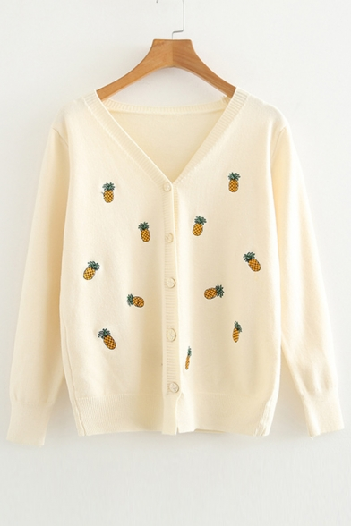 V Pineapple Front Sleeve Long Cardigan Neck Embroidered Button wS1A7Xxqx