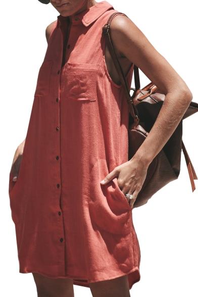 Button Up Lapel Collar Sleeveless Plain Mini Shirt Dress